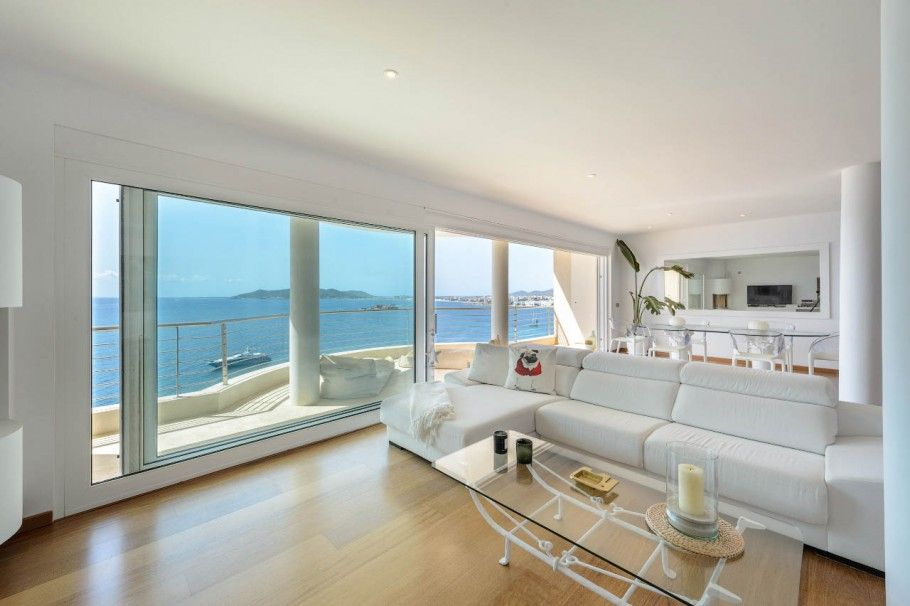 Living Dining Room Open Plan Kitchen Seafront Penthouse In Puig
