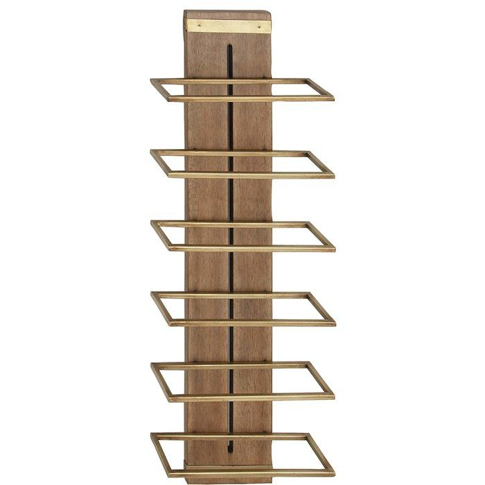 Cammarata Modern Wood And Iron 5 Bottle Wall Mounted Wine Bottle Rack