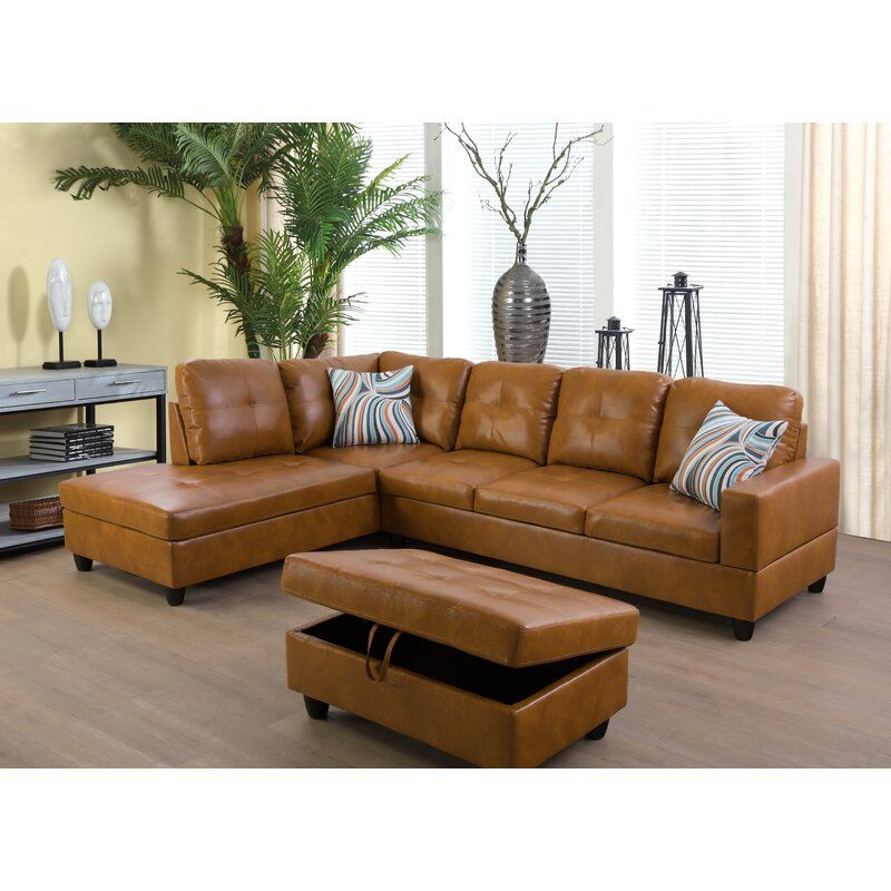 Wilhelmine 103 5 Wide Faux Leather Sofa Chaise With Ottoman In 2021 Faux Leather Sofa Faux Leather Sectional Leather Sectional