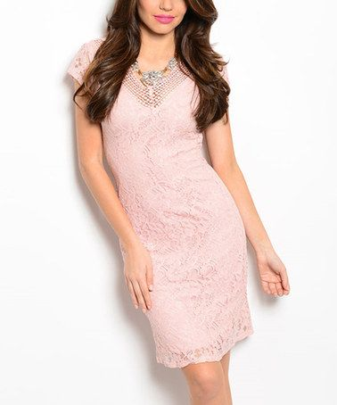 Look what I found on #zulily! Blush Lace Scoop-Back Dress #zulilyfinds
