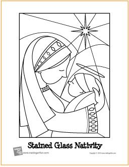 stained glass nativity free printable coloring page makingartfun