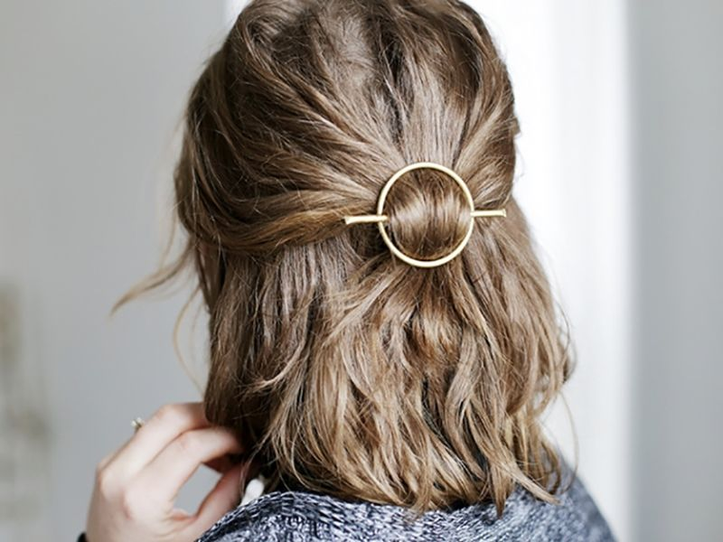 Barrette Hairstyles Diy Brass Circle Hair Clasp  Hairspray Barrette And Hair Style