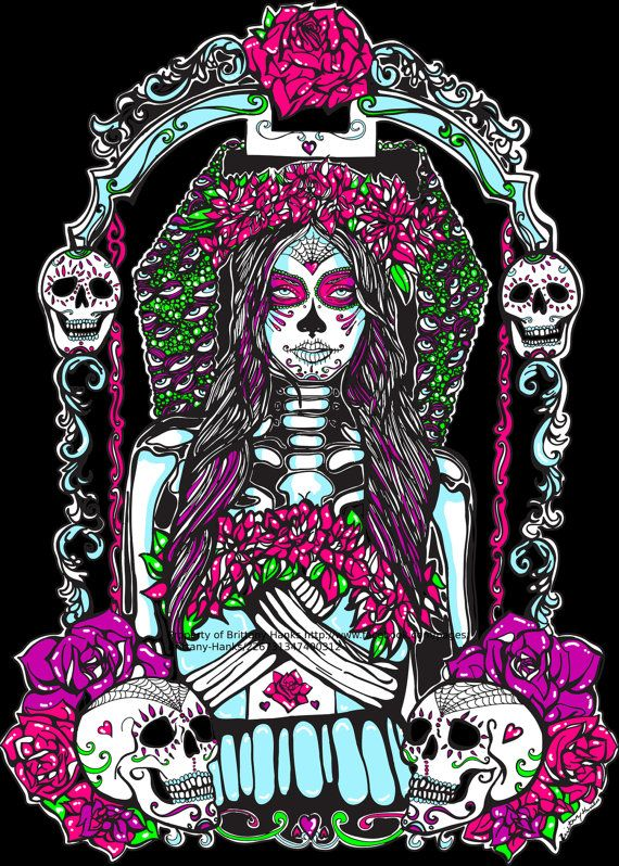 Tattoo Home Decor Neon Day Of The Dead Sugar Skull By Pajamasquid