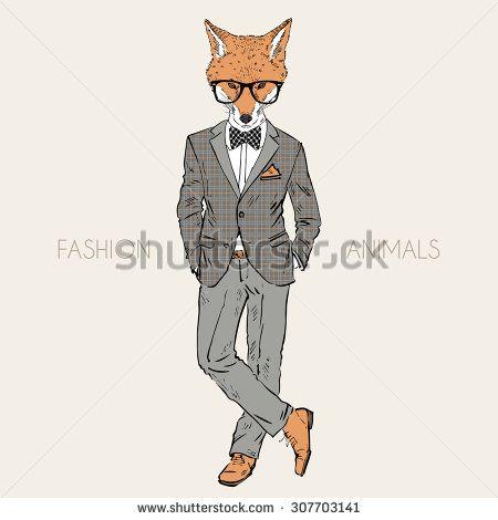 fox man dressed up in tweed suit, fashion animal ...