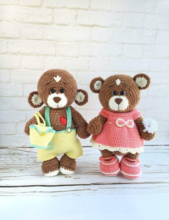 Teddy bear handmade figurine toy / Soft stuffed bear doll / Hand-crocheted plush Teddy bears toy with outfit / Plushies #beartoy