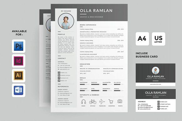 Resume/CV - This professional Resume & Business Card Template is ...