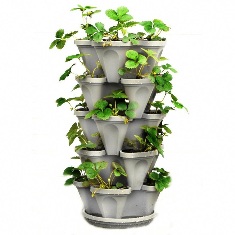 Mr stacky in x in stone plastic vertical stackable planter