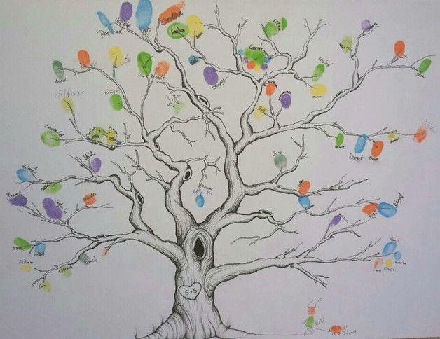Dawanda Bild Gemalt Zeichnung Fineliner Schwarzweiss Bunt Baum