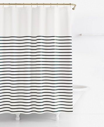 Harbour Stripe Shower Curtain Striped Shower Curtains Black