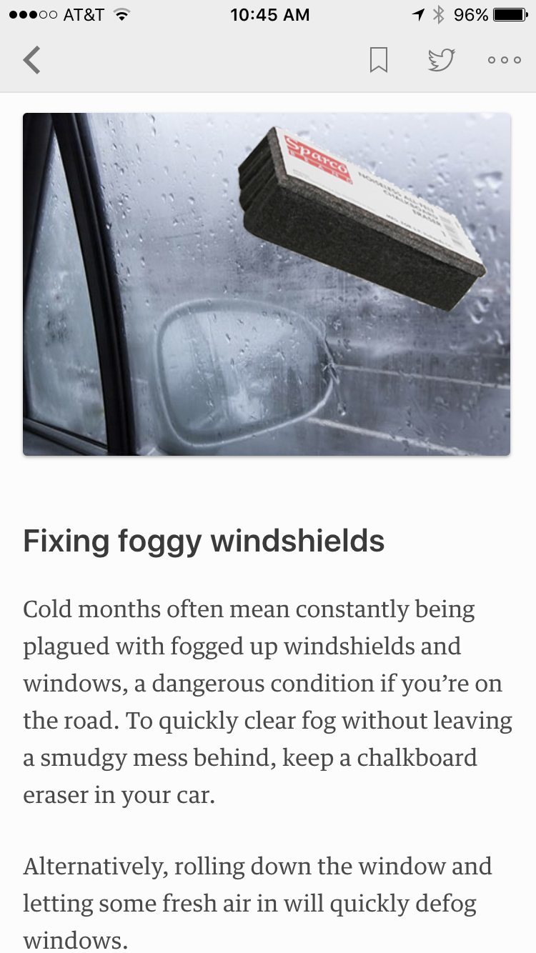 Use an eraser on foggy windshields Car hacks, Car, Windows