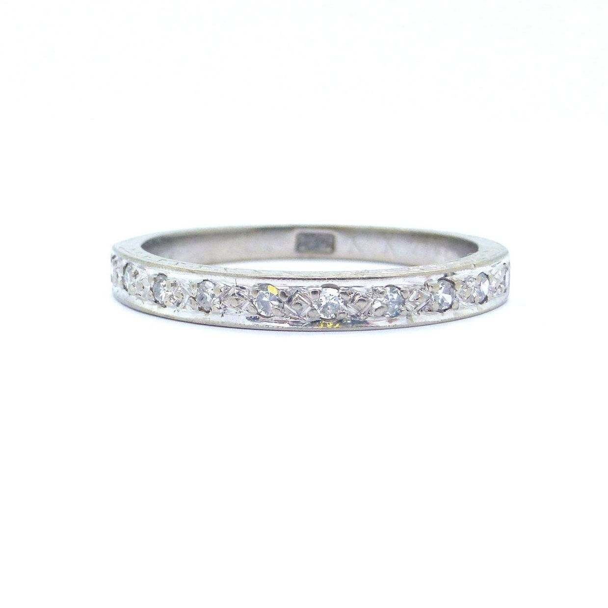 Art Deco Diamond Wedding Band Eternity Ring 1920s 18ct White Gold