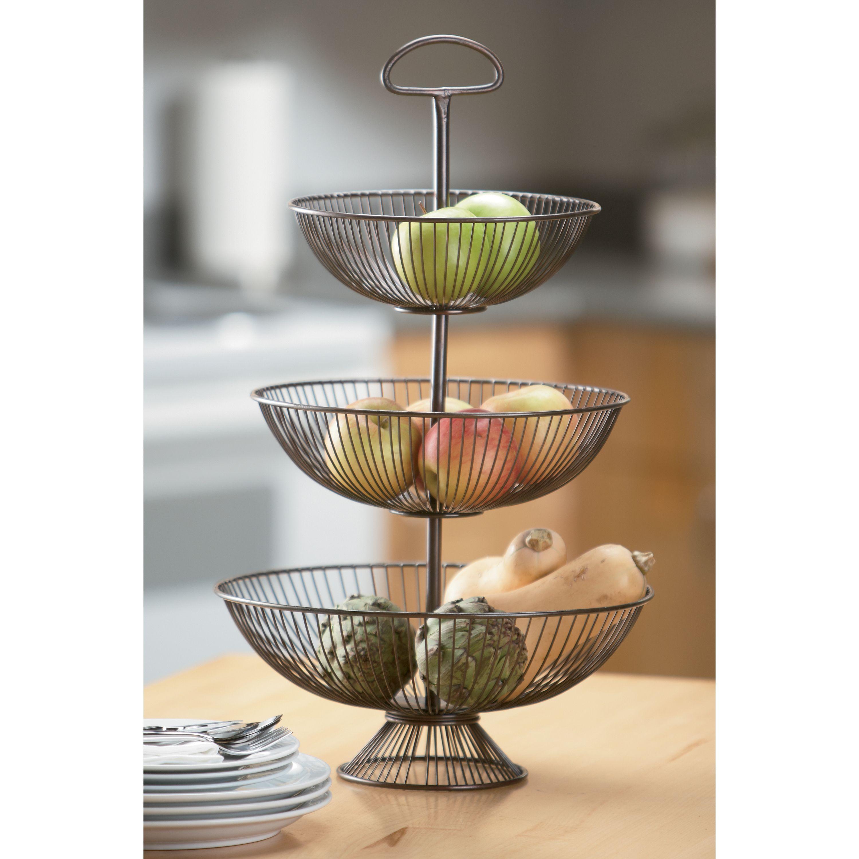 24 Inch Three Tier Decorative Wire Basket Stand By KINDWER