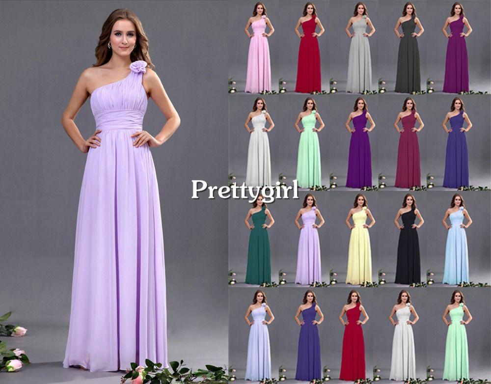 Online Purple Lavender Grape Pink Chiffon Peach Color One Shoulder New Fashion 2017 Junior Maxi Bridesmaid Dress Long