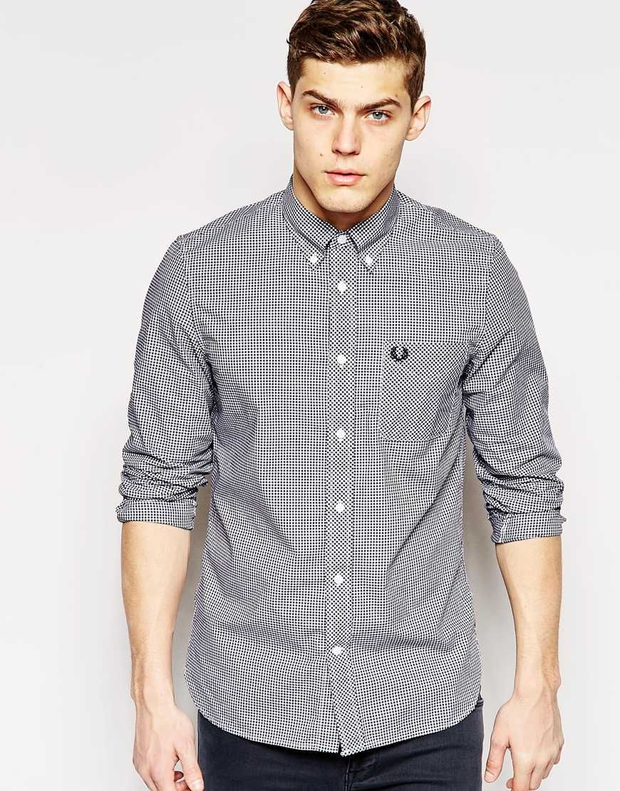 Fred Perry Shirt In Slim Fit Gingham In Black at asos.com