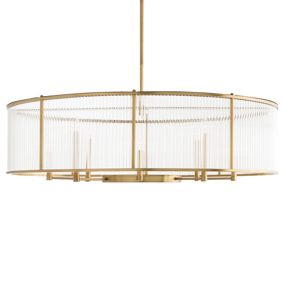 A modern interpretation of the purity of form of Greek and Roman columns, the 8-light Hera pendant uses glass cylinder rods to provide the exterior frame of this oval shaped fixture. The antique brass finish on the delicate metal frame candelabra lighting, and glass create a striking pendant that would be stunning as a single or in pairs in a dining room or master suite.