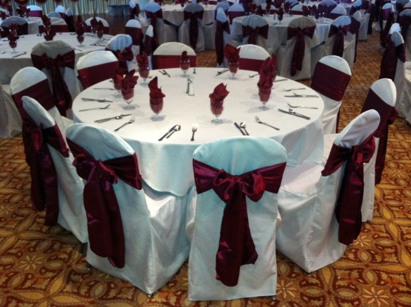 Wine Burgundy Satin Chair Sash On White Chair Cover Chair Covers