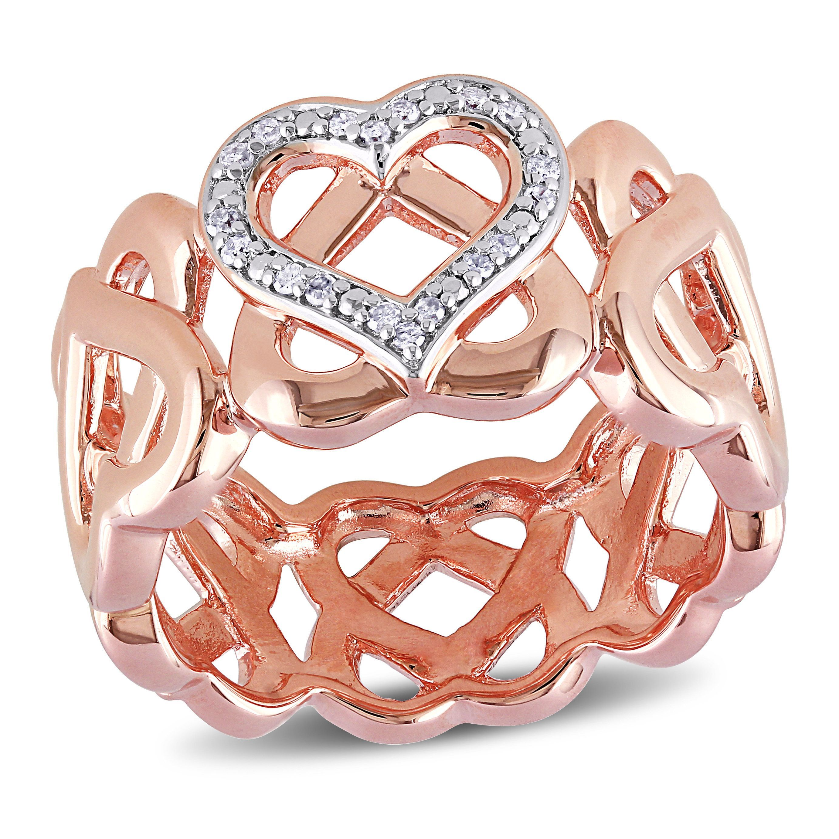 Miadora Rose Plated Silver 1/10ct TDW Diamond Heart Ring (H-I, I2-I3) (Size 5), Women's, Pink