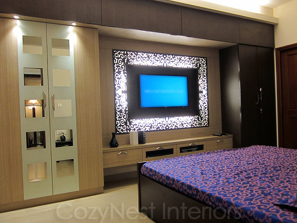 Bedroom wardrobe designs with tv unit 2 dormitorio for Bedroom wall units with wardrobe for small room