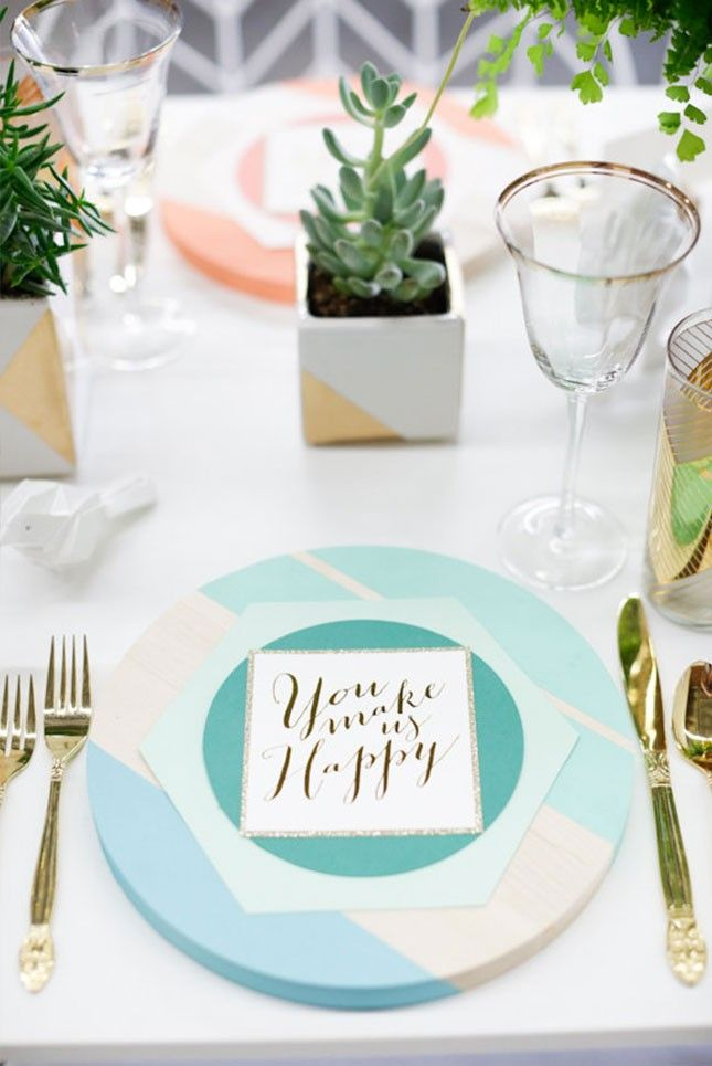 Practice your calligraphy + DIY some hand-lettered place settings.