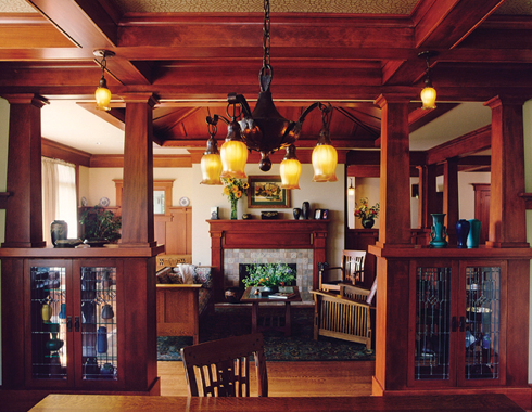 Arts crafts style bungalow living room interiors - Arts and crafts bungalow interiors ...