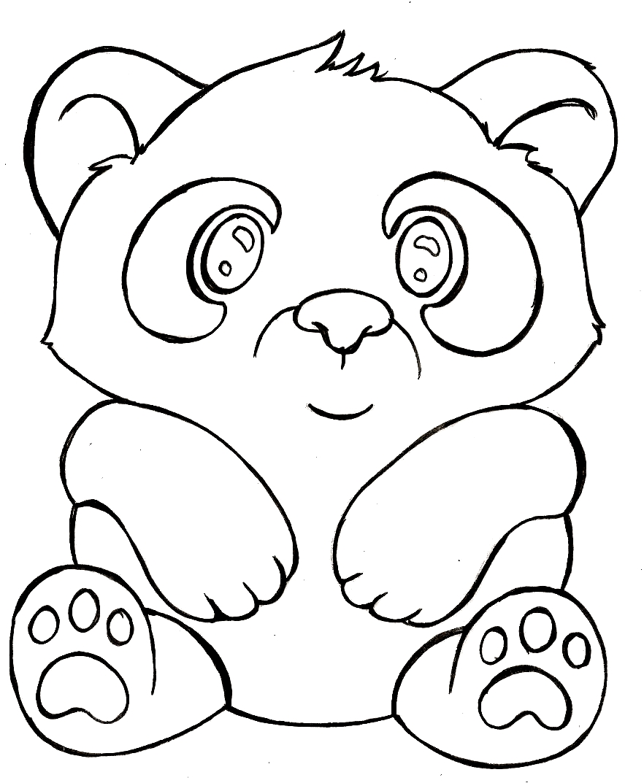 раскраска панда милая распечатать