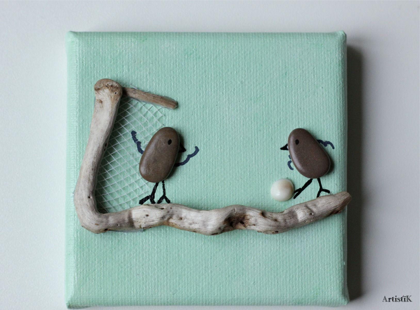 tableau galets oiseaux bois flott fond vert eau foot. Black Bedroom Furniture Sets. Home Design Ideas