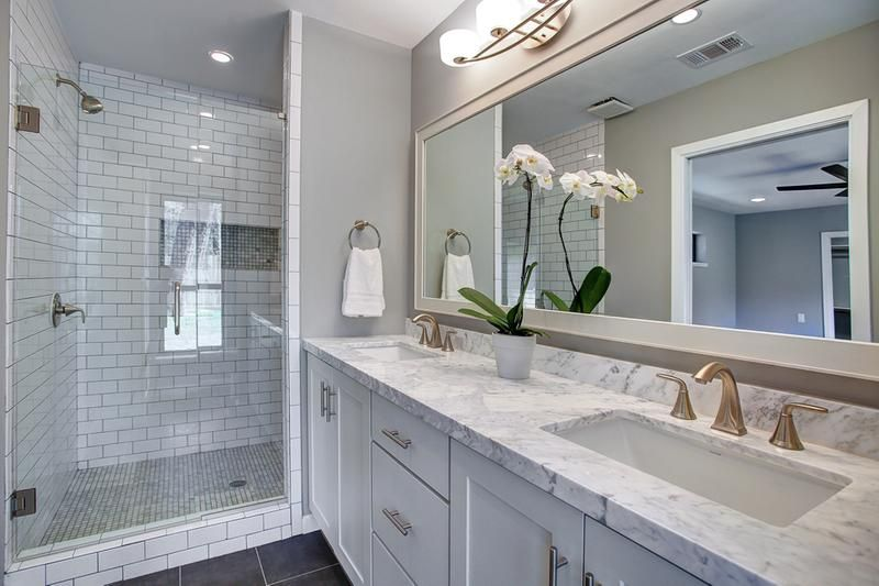 Double Vanity In White Bath Is Built Of Semi Custom Shaker Cabinets Topped With White Ma Custom Bathroom Vanity Custom Bathroom Vanity Cabinets Custom Bathroom