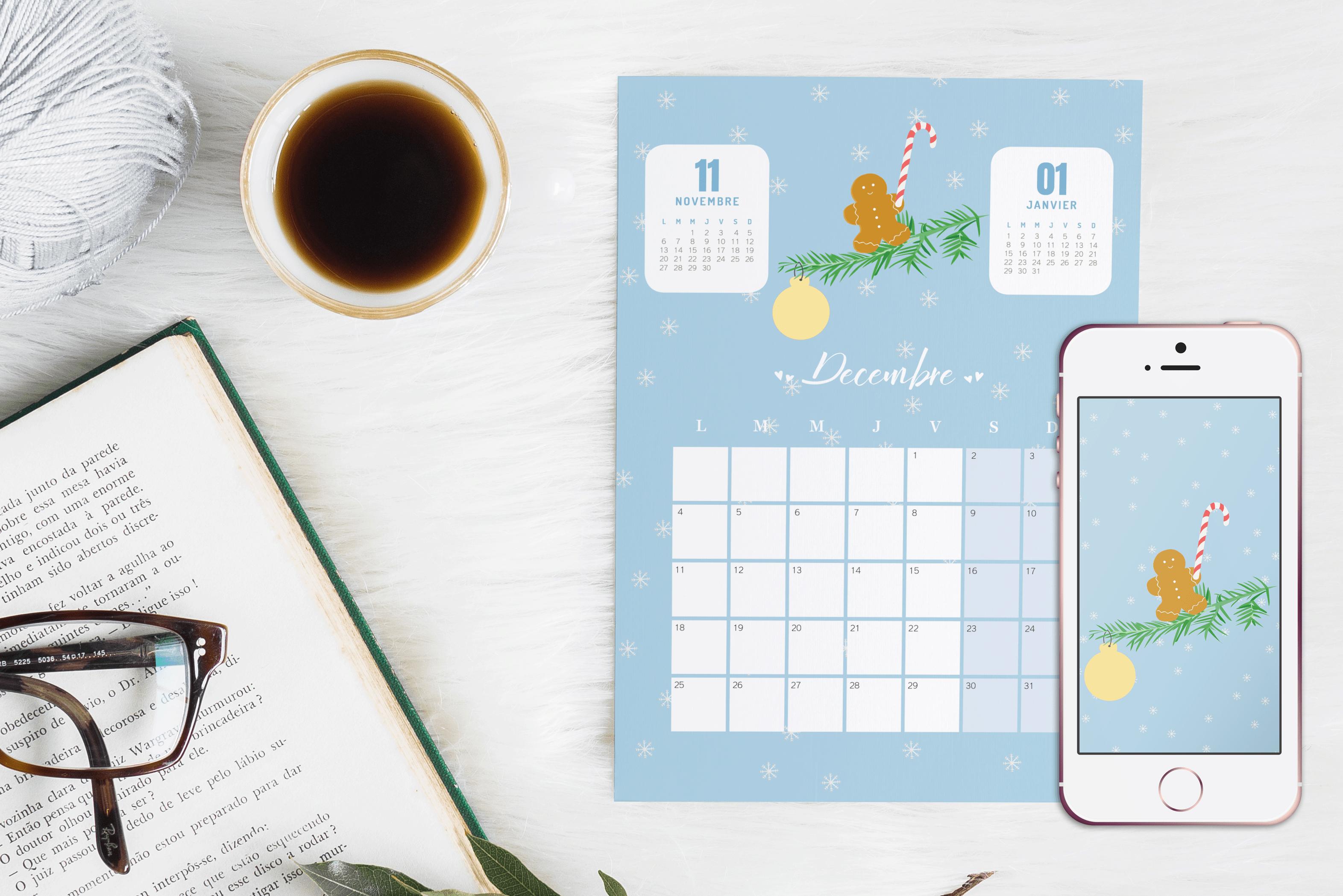 Le calendrier du mois de décembre et son fond d'écran #decembrefondecran