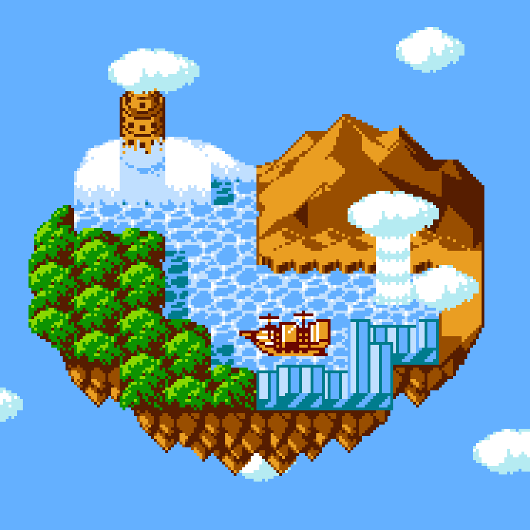 A Floating Island Was His Home - Pixel Art
