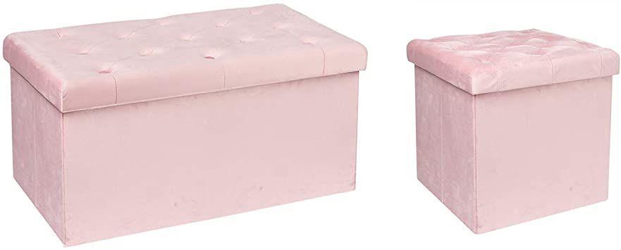 Foot Stool Pouffe Velvet Upholstered Ottoman Seat Bench Storage Box Long Stools