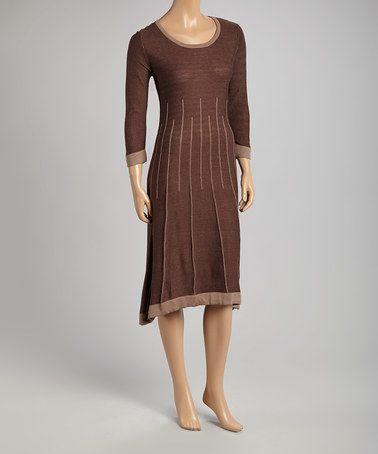Look at this #zulilyfind! Chocolate Linear Half-Sleeve Sweater Dress #zulilyfinds