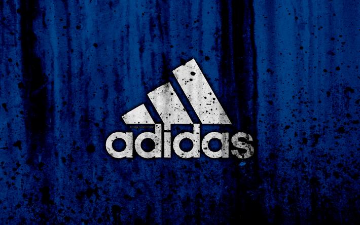 Download wallpapers Adidas, 4k, logo, grunge, blue