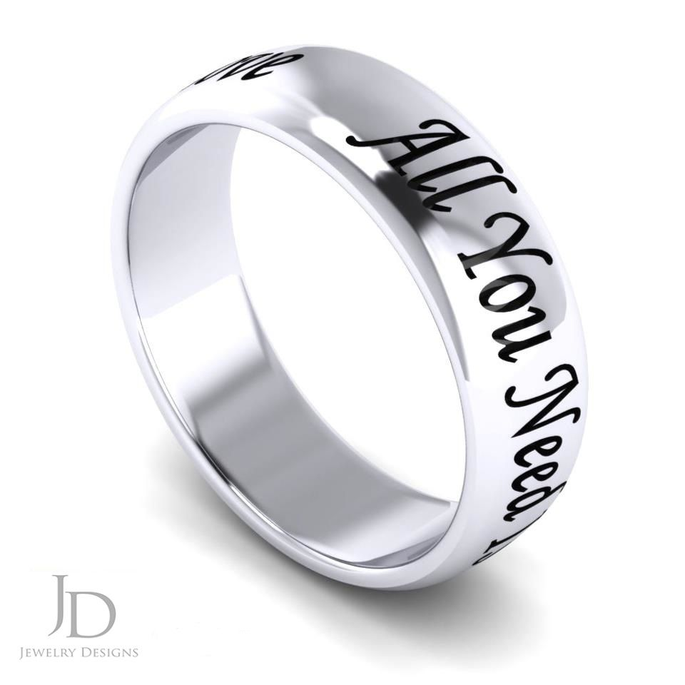 a couple wanted there favorite music lyrics on their wedding ring