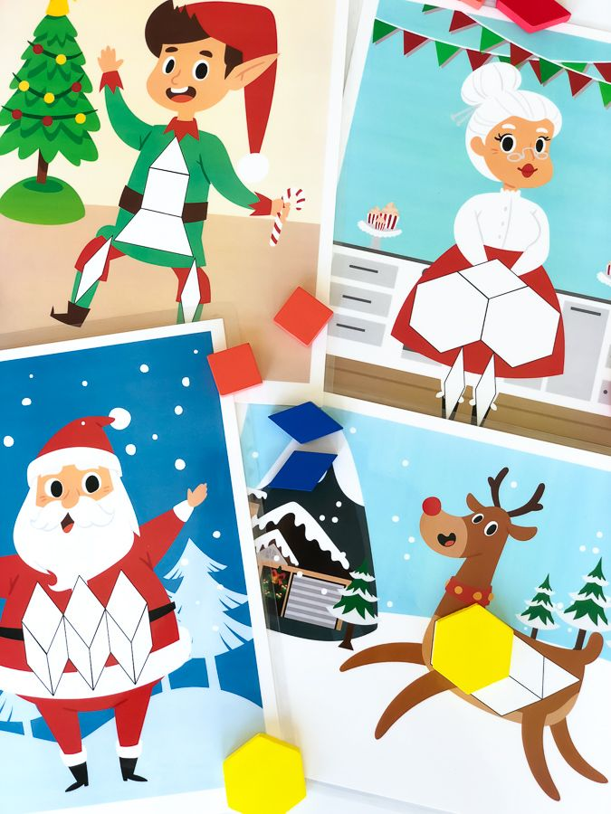cheery christmas tangram puzzles with images  preschool