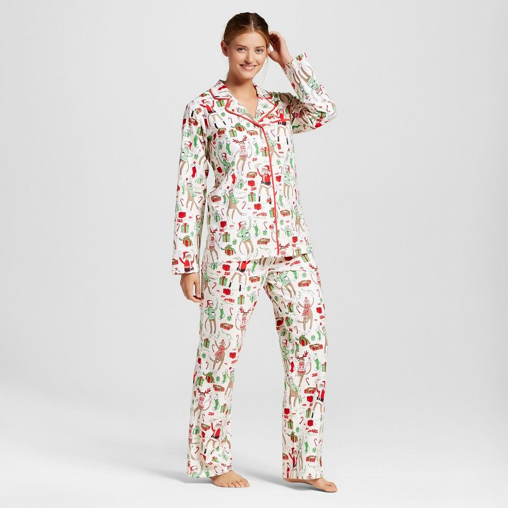 63b7a987d35f Nite Nite Munki Munki Sock Monkey Flannel Pajamas White L