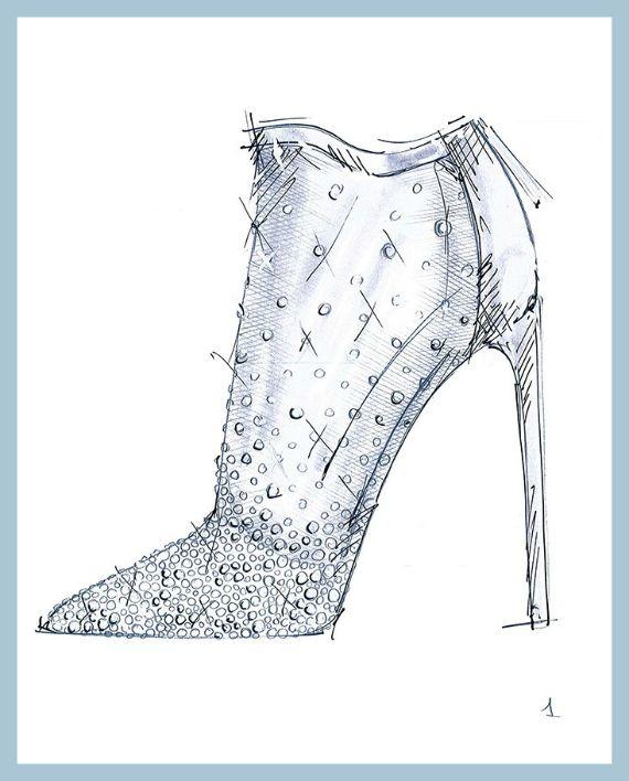 Pantofelek Dla Kopciuszka Moda Cafe Cinderella Shoes Glass Slipper Shoe Sketches
