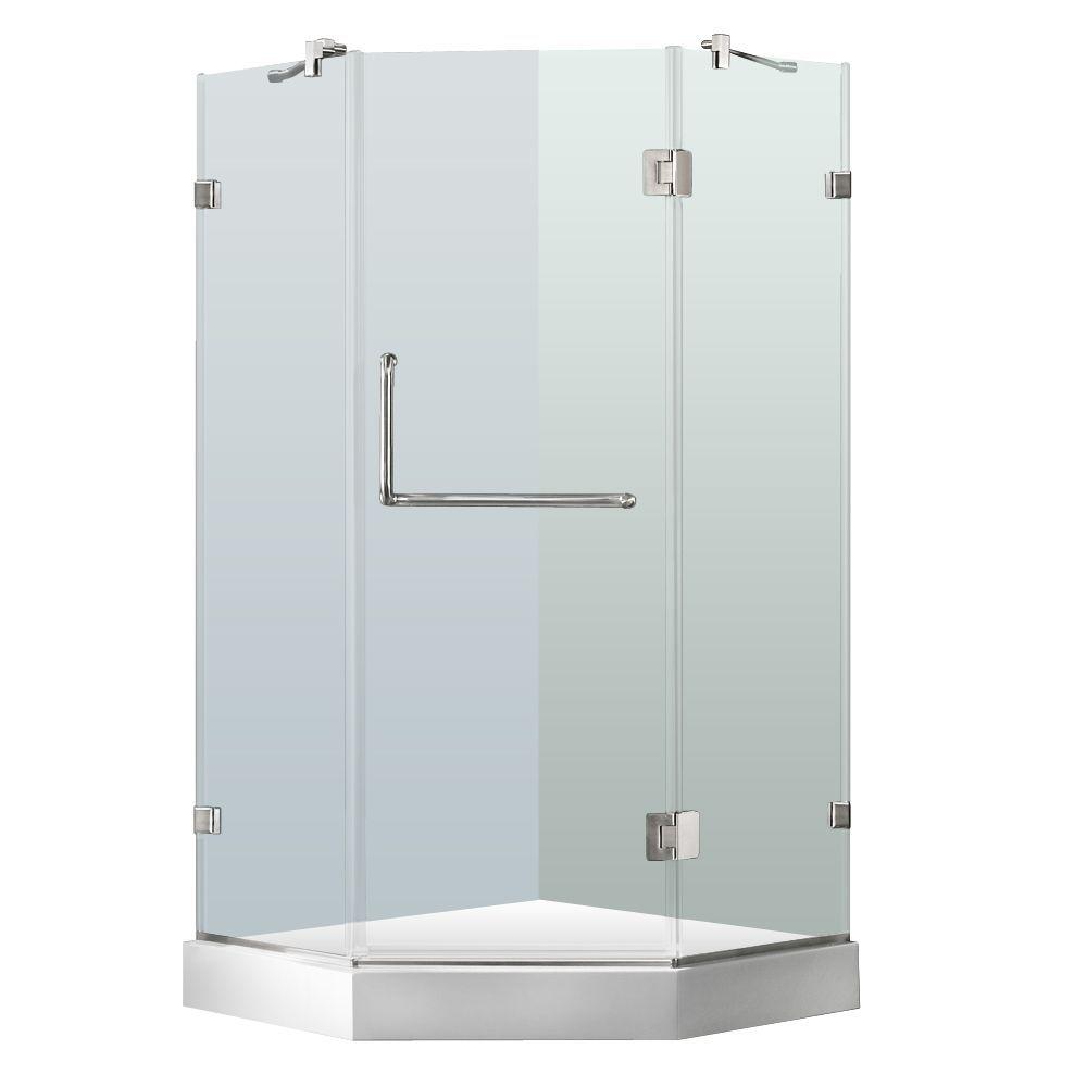 Vigo 38 x 38 Frameless Neo-angle Clear Shower Enclosure and White ...
