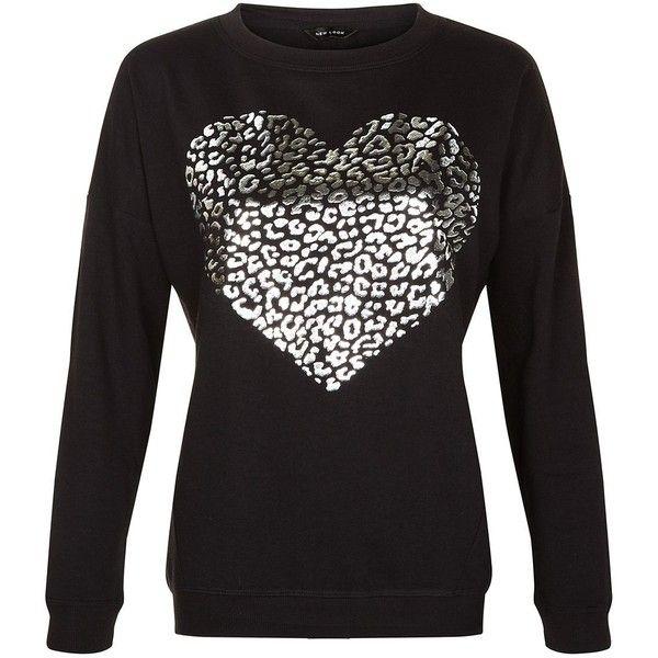 Black Leopard Print Metallic Heart Sweater | Black long