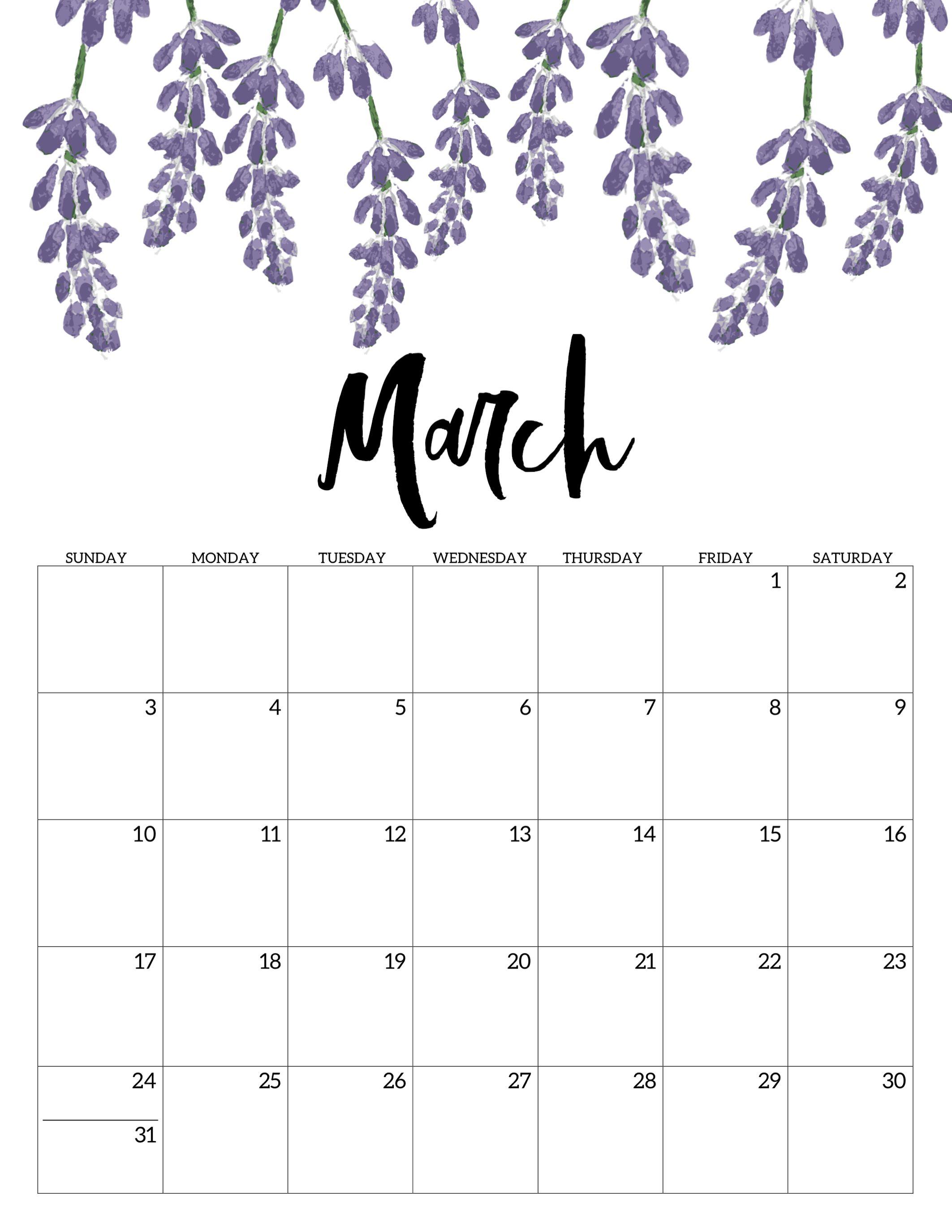 March 2019 Floral Desk Calendar March March2019