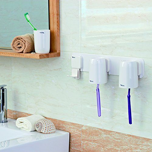Gaoyu 3M Adhesive Bathroom Toilet Tumbler Holders Wall Mounted Toothbrush  Holder Furniture Sets   NO TOOLS REQUIRED