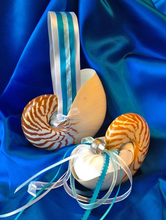 Nautilus Flower Girl Basket & Ring Bearer by JsWorldOfWonder, $88.00  #flowergirlbasket, #ringbearer, #weddings