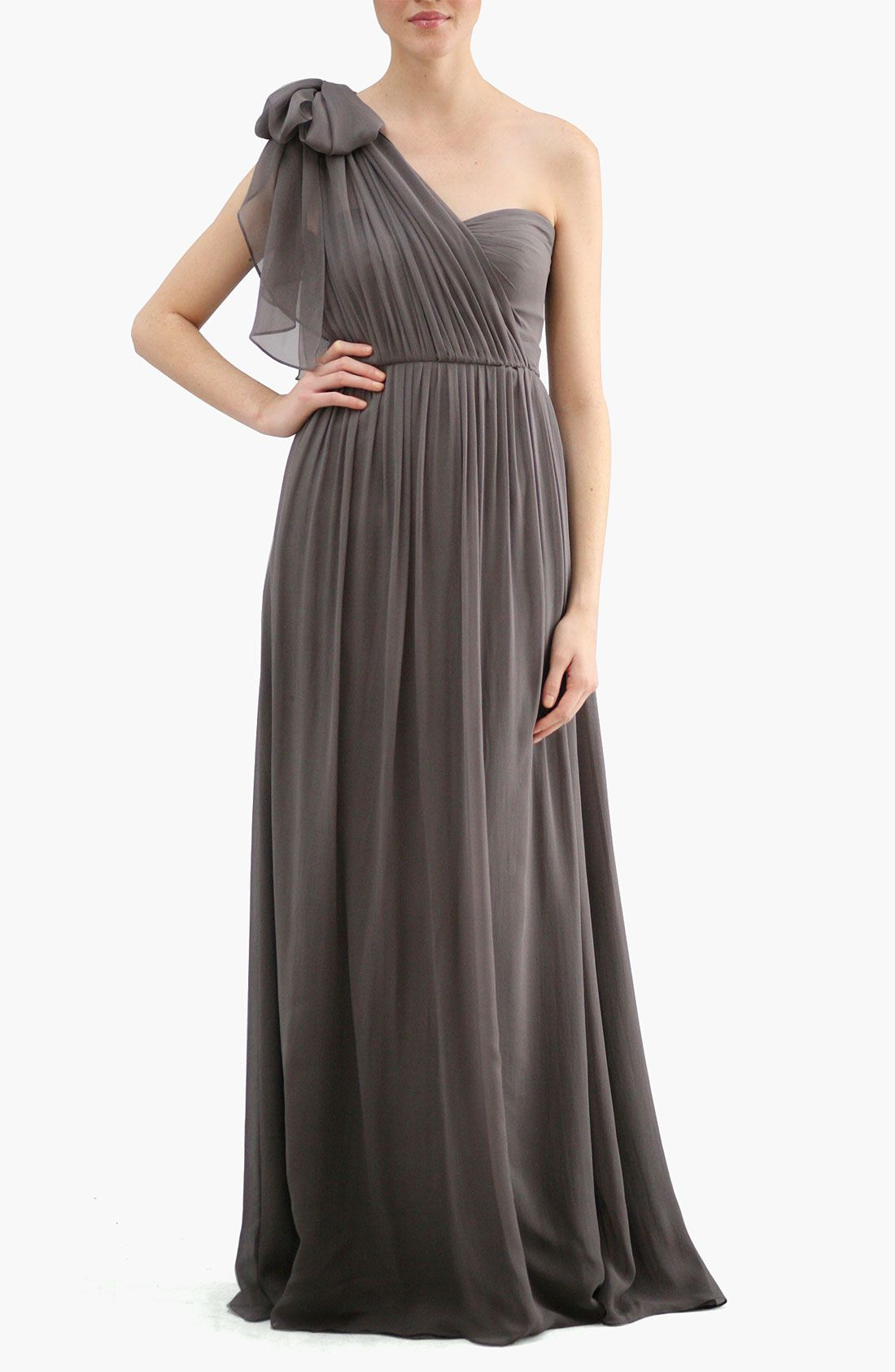 Convertible strapless chiffon evening gown.