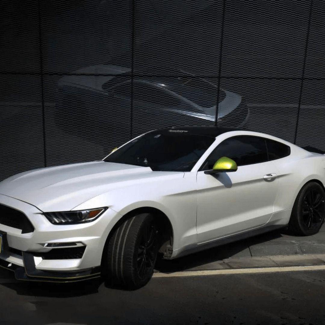 Wrapping full roll white matte metallic film on Mustang