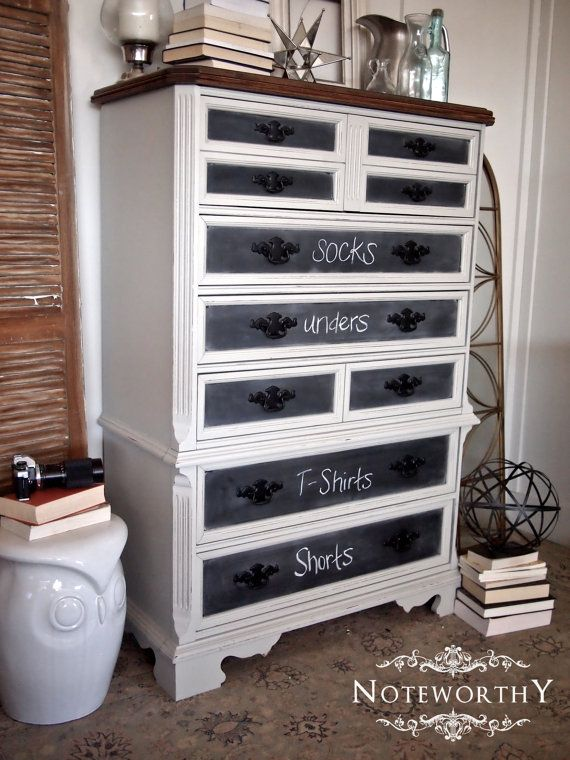 Best Chalk Painted Drawer Fronts Tall Grey Painted Chest Of Drawers Boys Room Custom Painted 400 x 300