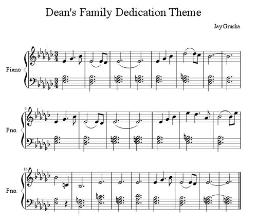 Sheet Music For Dean's Theme By Jay Gruska