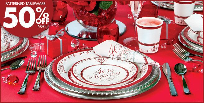 Ideas For A 40th Wedding Anniversary Party: Ruby 40th Anniversary Party Supplies
