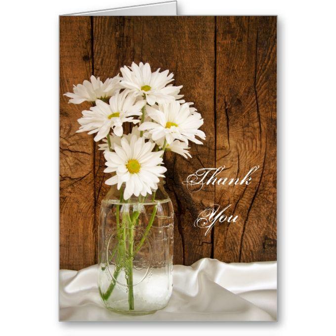 Mason Jar and Daisies Country Bridesmaid Thank You Greeting Card