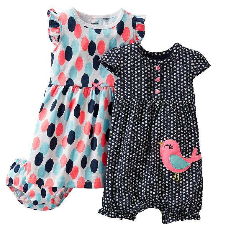 Carter's Dot Dress & Floral Creeper Set - Baby
