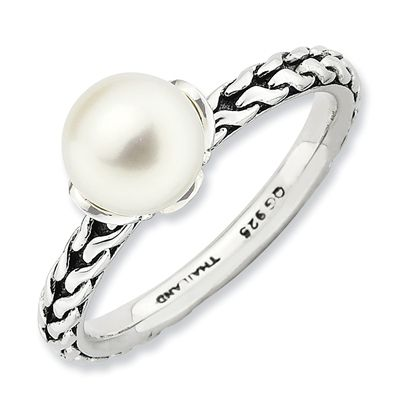 Zales Stackable Expressions 6.0-6.5mm Cultured Freshwater Pearl Antique-Finished Ring in Sterling Silver stqpPVC3S