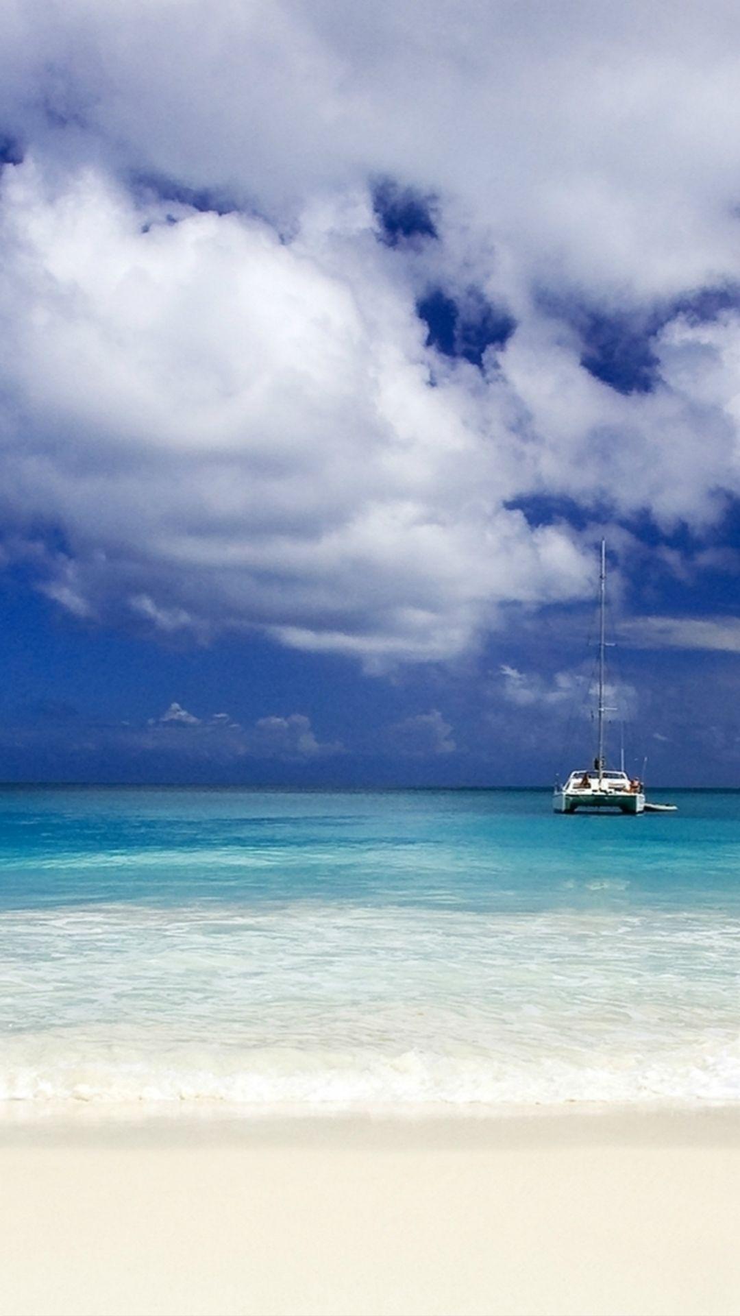Wallpaper iphone bright - Pure Bright Sunny Ocean Beach Sea View Skyline Boat Iphone 6 Plus